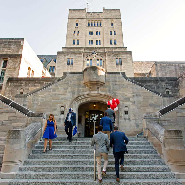 Students walking up and down steps leading to the Indiana Memorial Union
