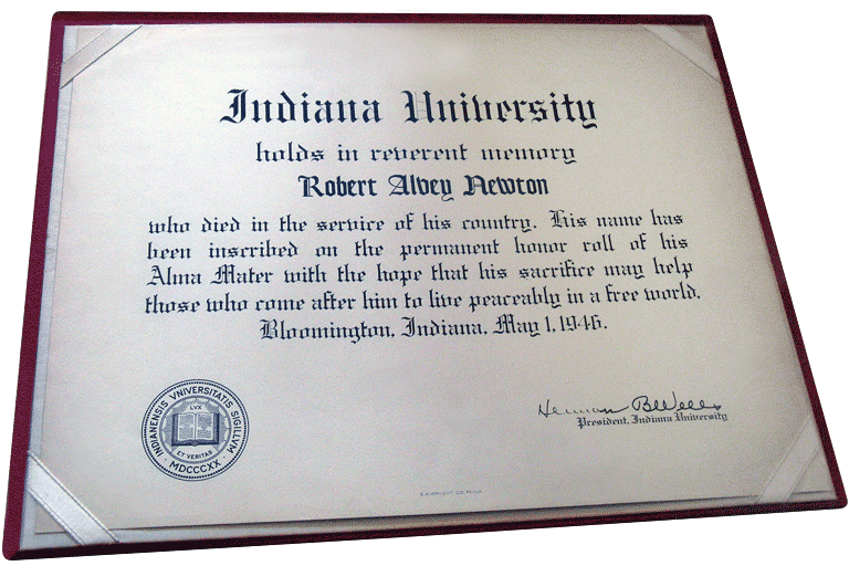 Certificate sent to the family of Robert Alvey Newton about his addition to the Honor Roll